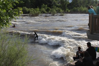 River surfing in Missoula, MT